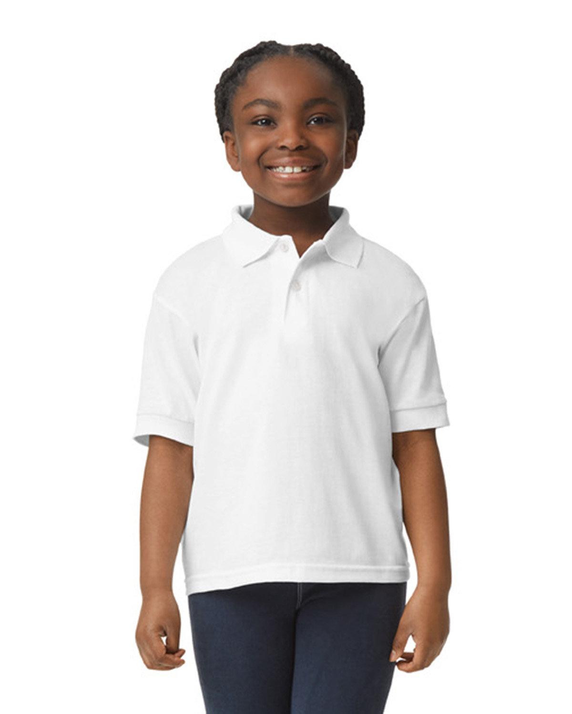 Gildan Youth 50/50 Jersey Polo WHITE