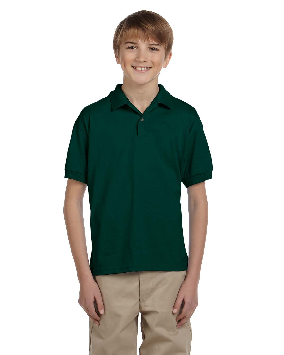 Gildan Youth 50/50 Jersey Polo FOREST GREEN