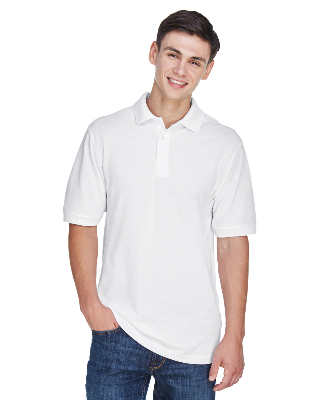 Harriton Men's Tall 5.6 oz. Easy Blend™ Polo WHITE
