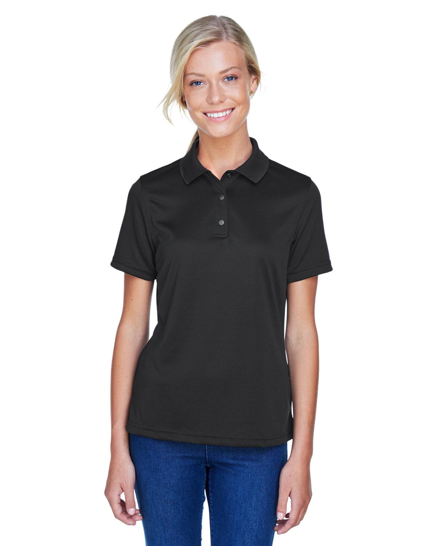 Harriton Ladies' Advantage Snag Protection Plus IL Snap Placket Polo BLACK