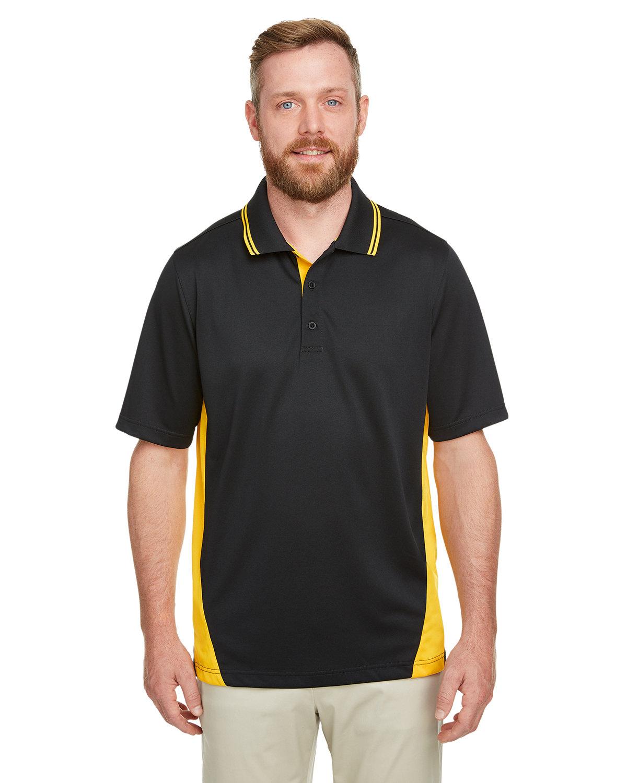 Harriton Men's Tall Flash Snag Protection Plus IL Colorblock Polo BLACK/ SNRY YLLW