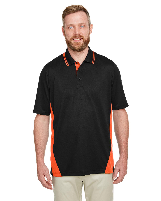 Harriton Men's Tall Flash Snag Protection Plus IL Colorblock Polo BLACK/ TM ORANGE