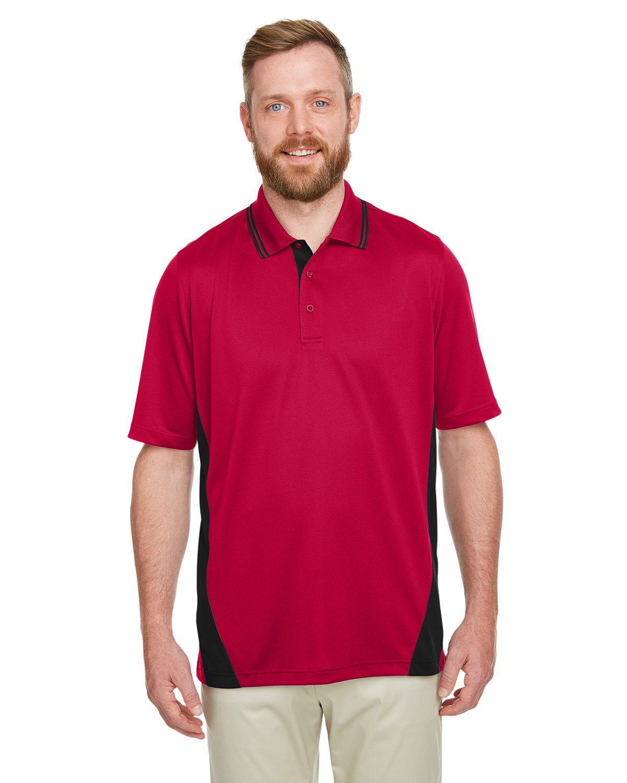 Harriton Men's Tall Flash Snag Protection Plus IL Colorblock Polo RED/ BLACK