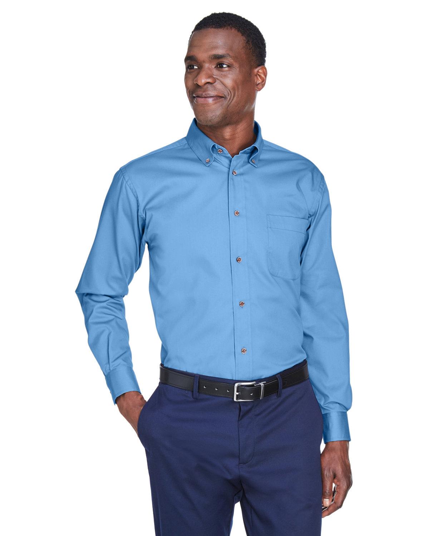 Harriton Men's Easy Blend™ Long-Sleeve TwillShirt withStain-Release LT COLLEGE BLUE