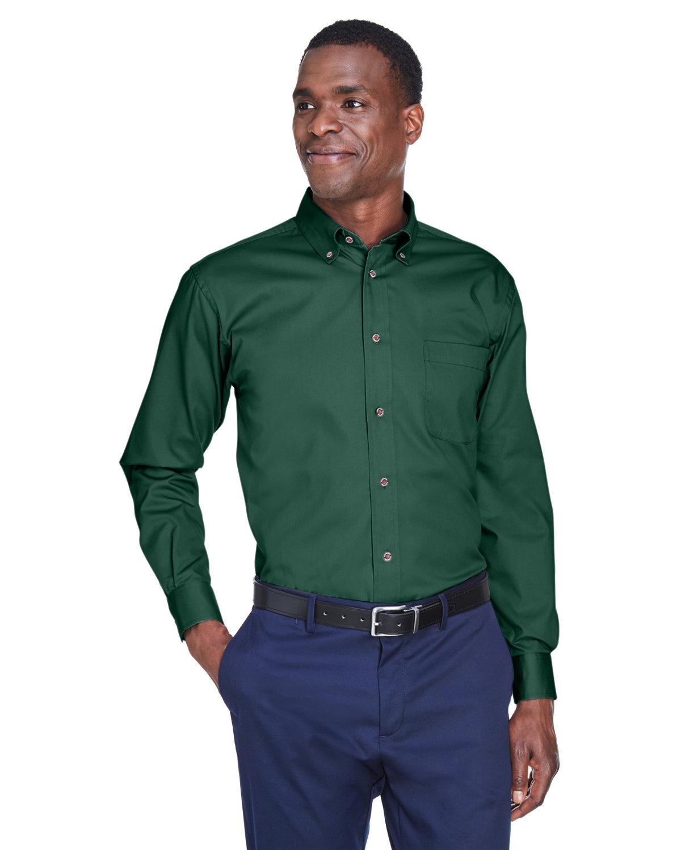 Harriton Men's Easy Blend™ Long-Sleeve TwillShirt withStain-Release HUNTER