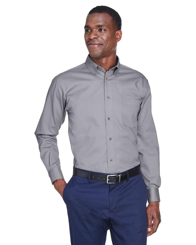 Harriton Men's Easy Blend™ Long-Sleeve TwillShirt withStain-Release DARK GREY