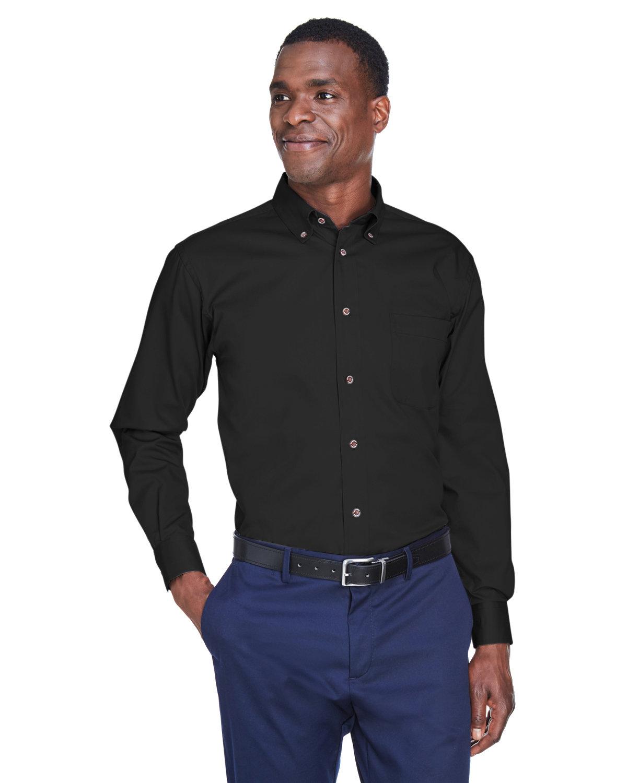 Harriton Men's Easy Blend™ Long-Sleeve TwillShirt withStain-Release BLACK