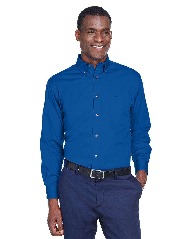 Harriton Men's Easy Blend™ Long-Sleeve TwillShirt withStain-Release FRENCH BLUE