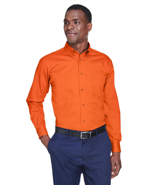 Harriton Men's Easy Blend™ Long-Sleeve TwillShirt withStain-Release TEAM ORANGE