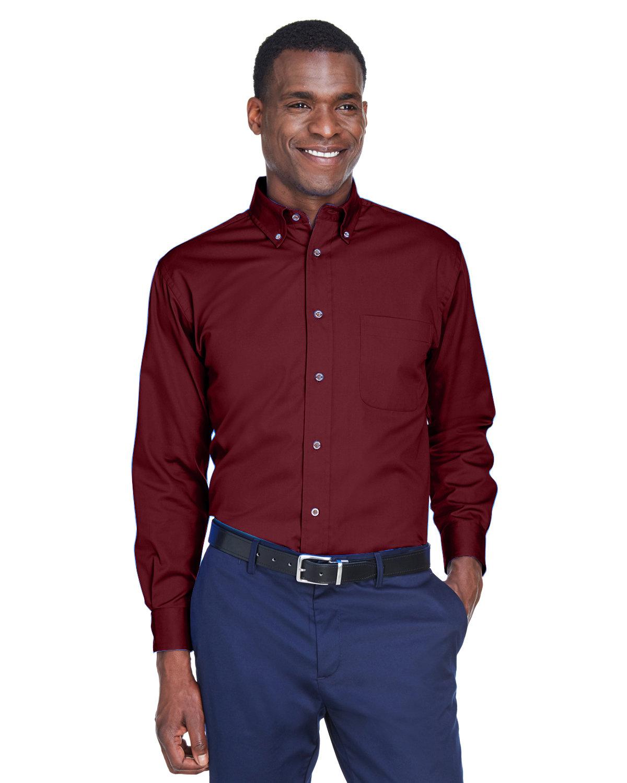 Harriton Men's Easy Blend™ Long-Sleeve TwillShirt withStain-Release WINE