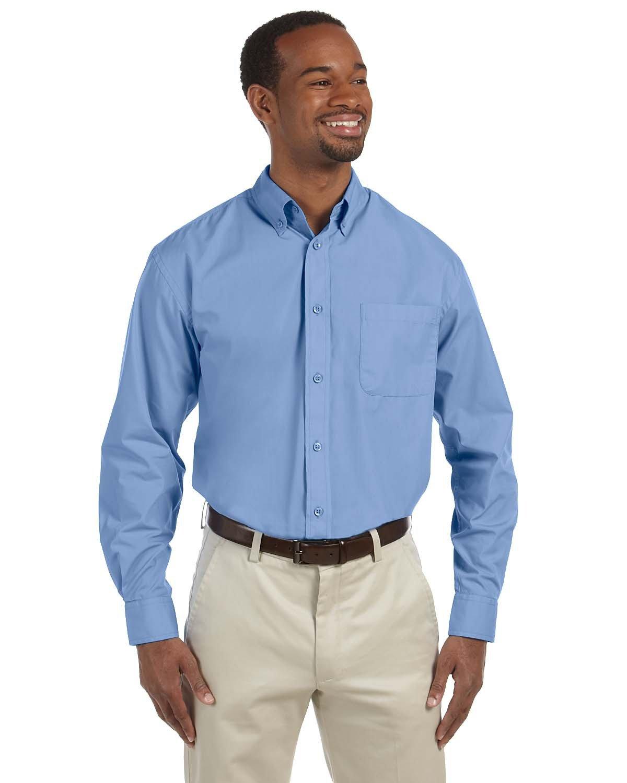 Harriton Men's 3.1 oz. Essential Poplin LT COLLEGE BLUE
