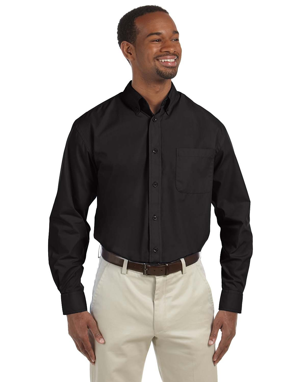 Harriton Men's 3.1 oz. Essential Poplin BLACK