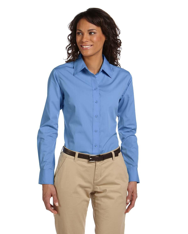 Harriton Ladies' 3.1 oz. Essential Poplin LT COLLEGE BLUE