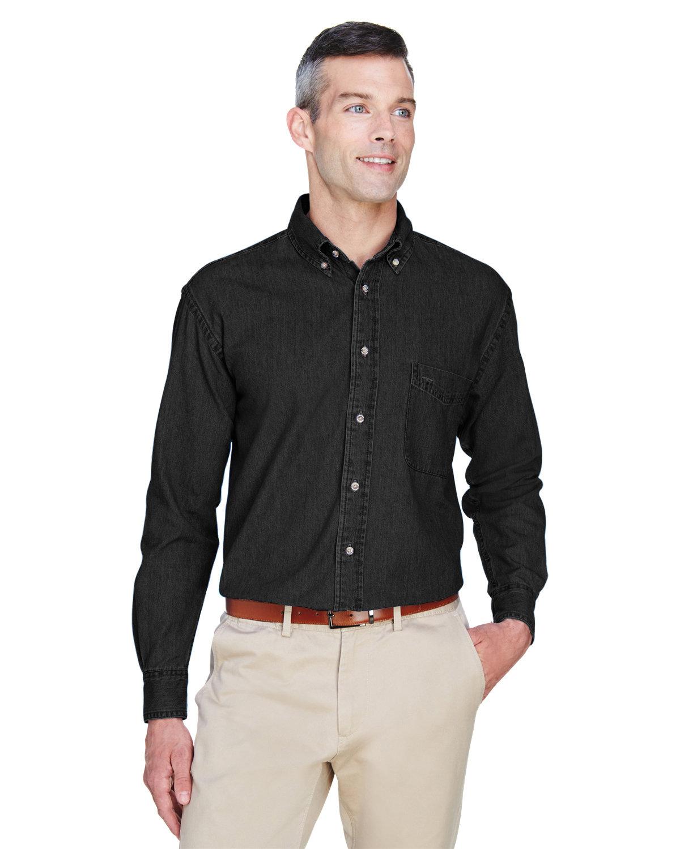 Harriton Men's 6.5 oz. Long-Sleeve Denim Shirt WASHED BLACK