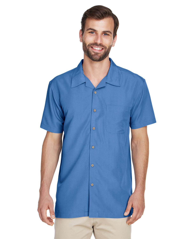 Harriton Men's Barbados Textured CampShirt POOL BLUE