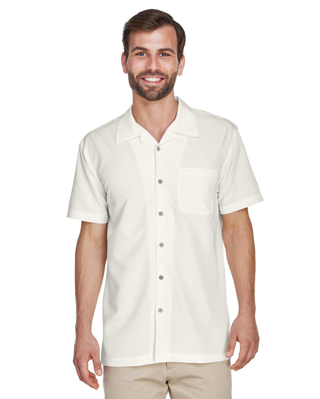Harriton Men's Barbados Textured CampShirt CREME