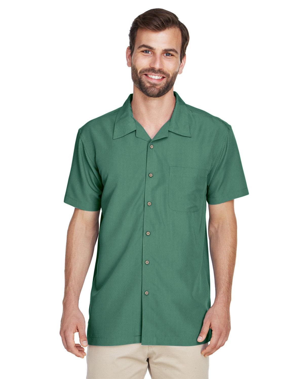 Harriton Men's Barbados Textured CampShirt PALM GREEN