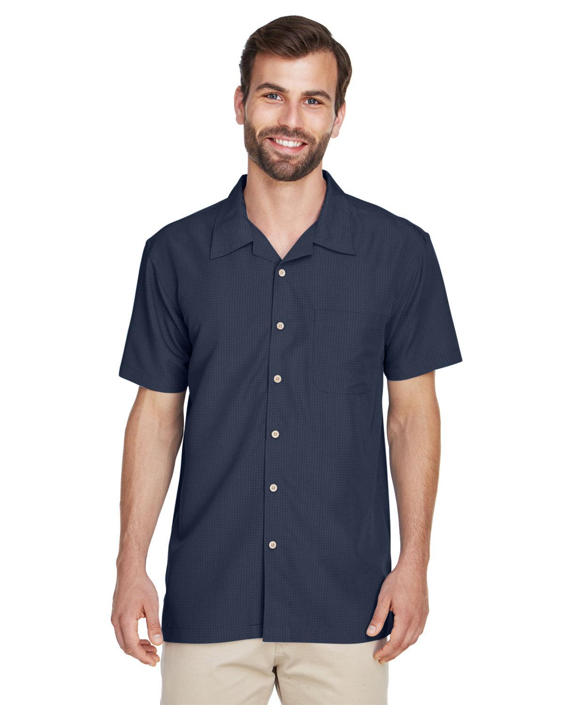 Harriton Men's Barbados Textured CampShirt NAVY