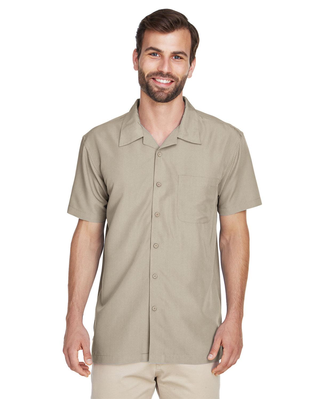 Harriton Men's Barbados Textured CampShirt KHAKI
