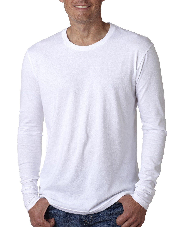 Next Level Men's Cotton Long-Sleeve Crew WHITE