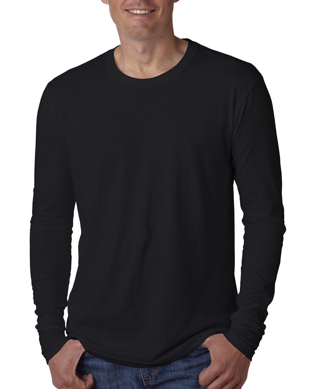 Next Level Men's Cotton Long-Sleeve Crew BLACK