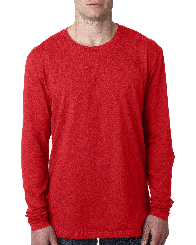 Next Level Men's Cotton Long-Sleeve Crew RED