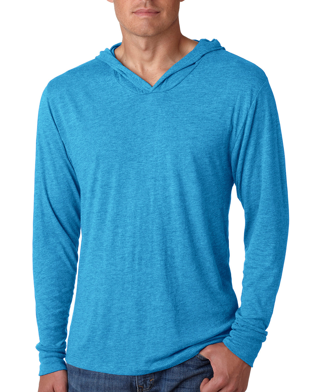 Next Level Adult Triblend Long-Sleeve Hoody VIN TURQUOISE