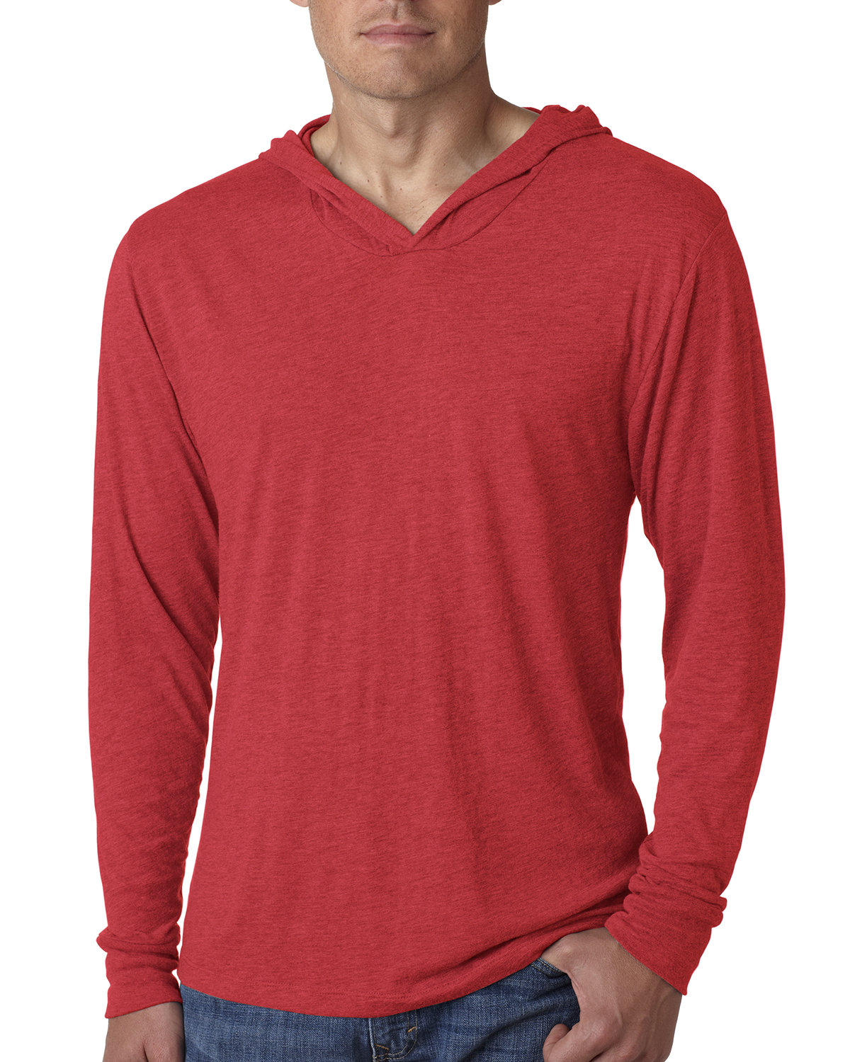 Next Level Adult Triblend Long-Sleeve Hoody VINTAGE RED
