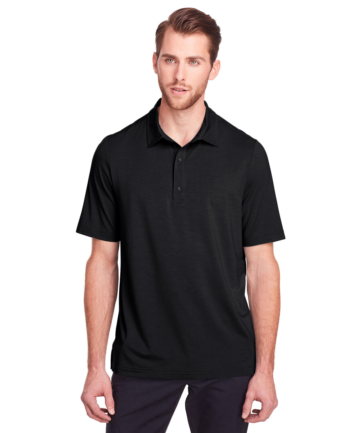 North End Men's Jaq Snap-Up Stretch Performance Polo BLACK