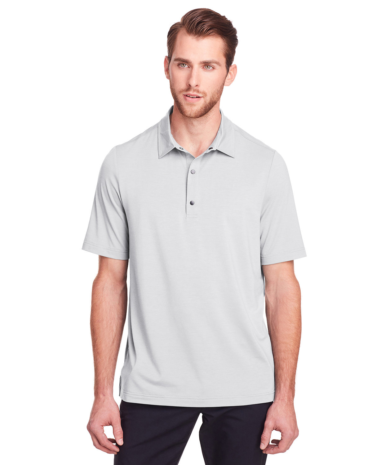 North End Men's Jaq Snap-Up Stretch Performance Polo PLATINUM