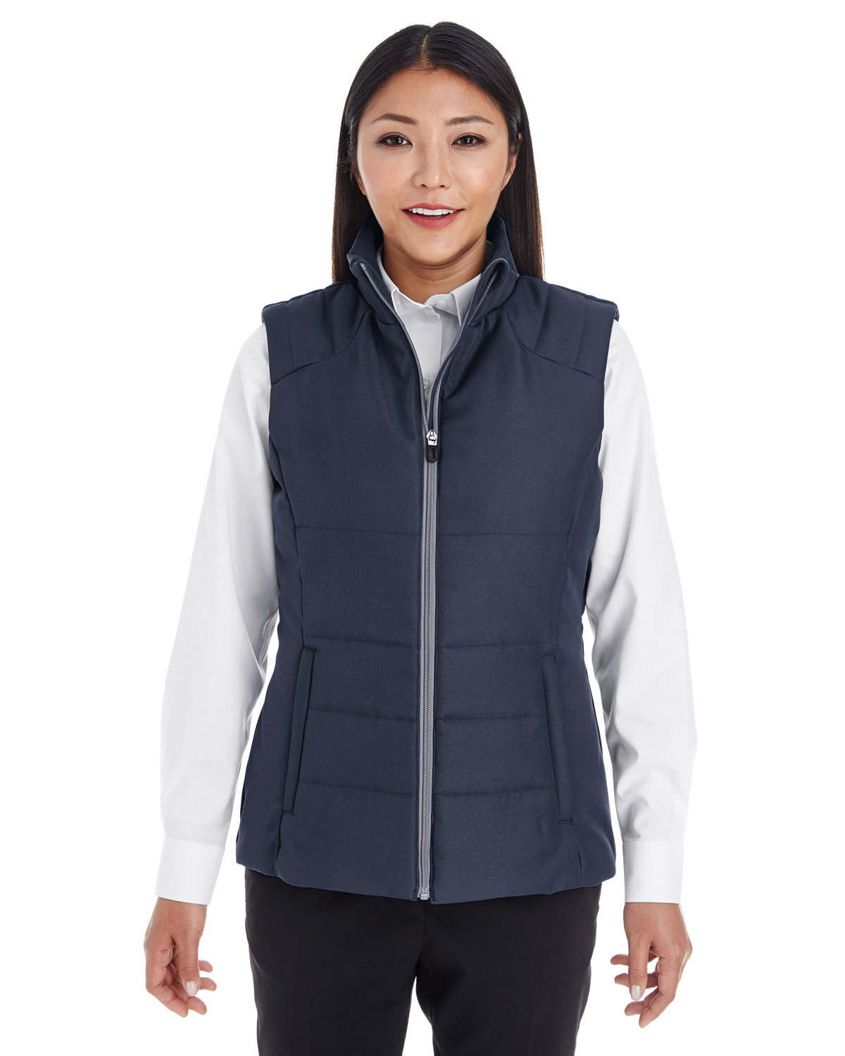 North End Ladies' Engage Interactive Insulated Vest NAVY/ GRAPH