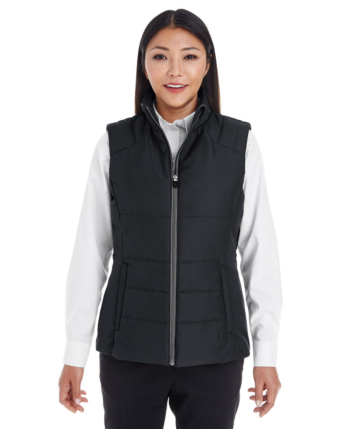 North End Ladies' Engage Interactive Insulated Vest BLACK/ GRAPHITE