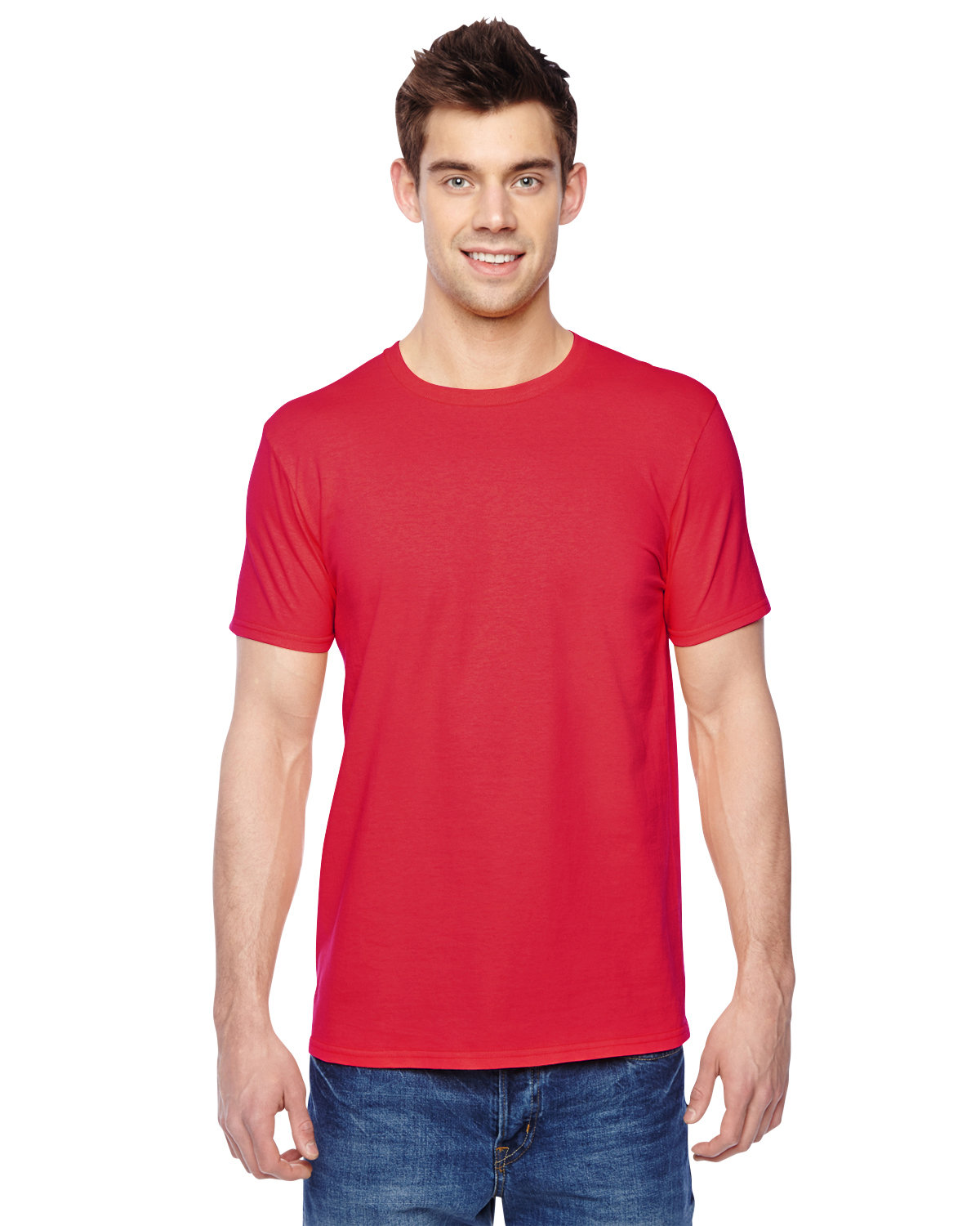 Fruit of the Loom Adult Sofspun® Jersey Crew T-Shirt FIERY RED