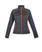 North End Ladies' Flux Mélange Bonded Fleece Jacket CRBN/ ORNG SODA OFFront