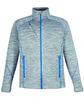 North End Men's Flux Mélange Bonded Fleece Jacket PLATNM/ OLY BLU OFFront