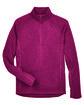 Devon & Jones Adult Bristol Sweater Fleece Quarter-Zip RED HEATHER FlatFront